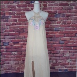 NWT Beige Halter Long Embroidered Dress